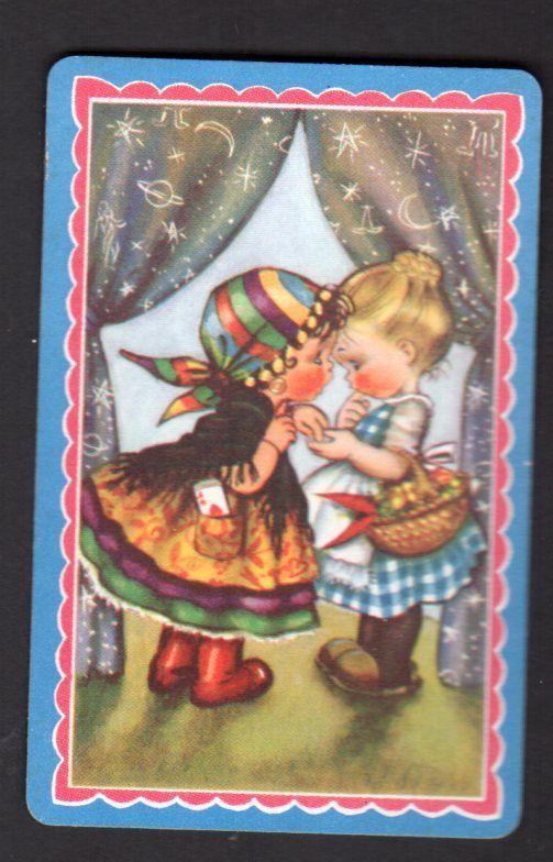 Vintage Swap Card Cute Girl Fortune Telling USA Blank Back | eBay