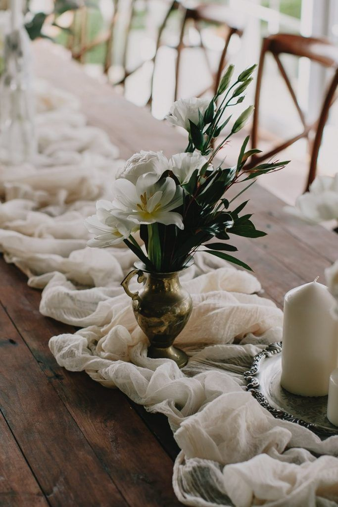 Cream Muslin Table Runners Lovebird Weddings Noosa Australia Farm Table Wedding Table Runners Wedding Wedding Table Designs