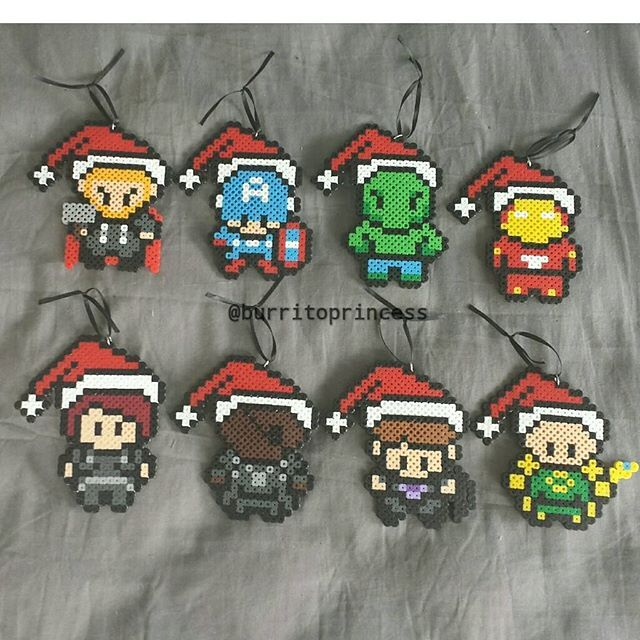 marvel figures christmas ornaments perler beads by burritoprincess