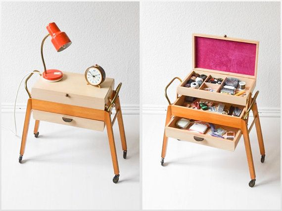cc8c9f29c Vintage sewing basket coffee table bedside table by MightyVintage.