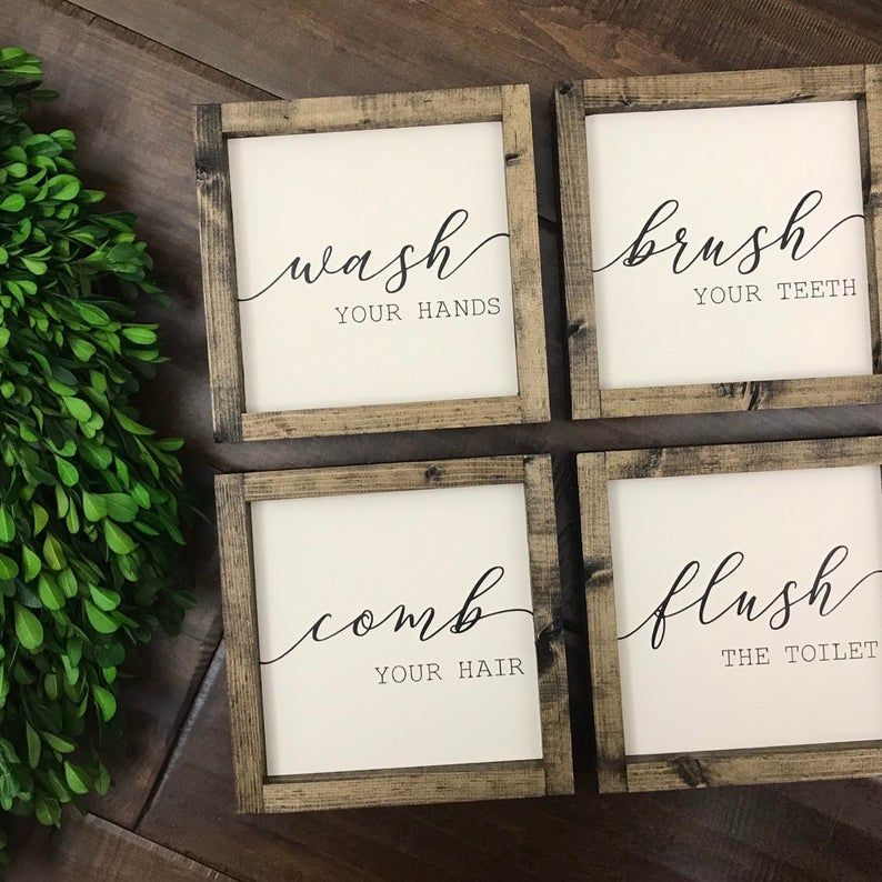 Photo of Wash Brush Comb Flush Set of 4 Signs  Bathroom Sign  | Etsy