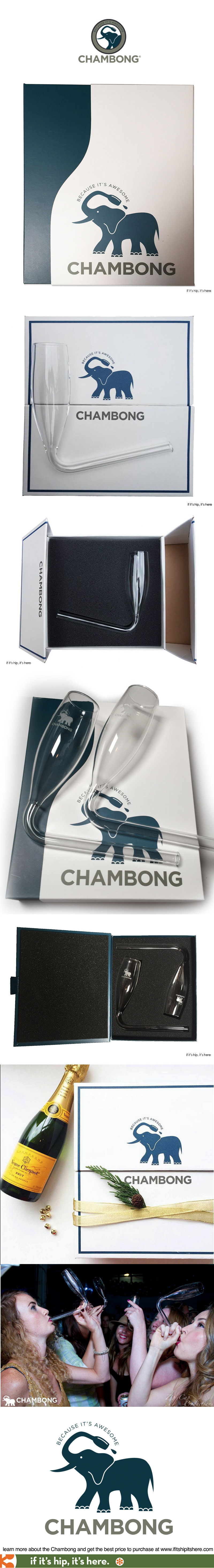 Branding, packaging and logo design for The Chambong, an upscale beer bong for bubbly.