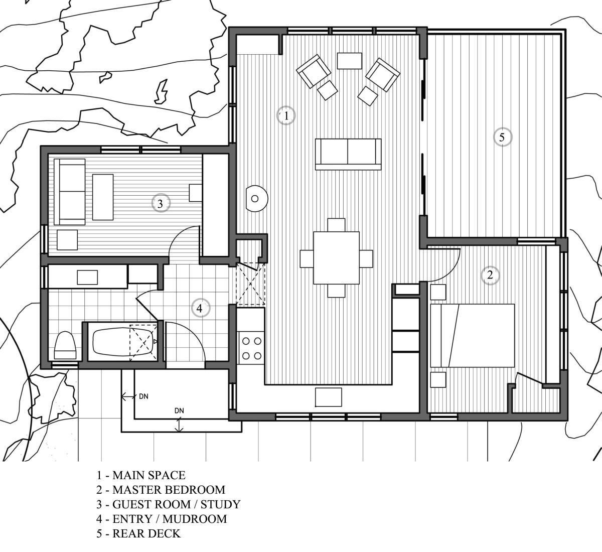 Small 2 Bedroom Cabin Plans A Woodsy Cottage By Architect Cathy Schwabe With 2 Bedrooms In 840