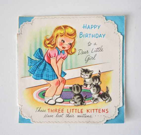 1950s Happy Birthday To A Dear Little Girl--vintage