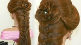 Party Braided Hairstyle With Rose Long Hair Styles Cute Ponytail Hairstyles Hair Styles