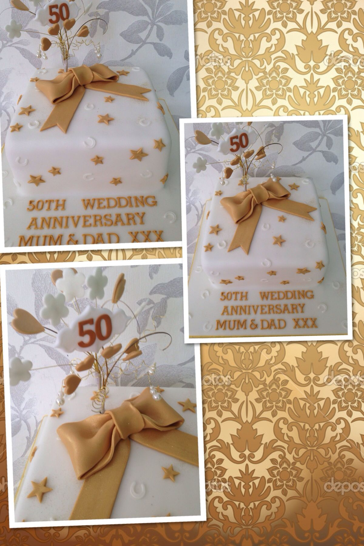 Golden Wedding Cake Golden Wedding Cake 50th Wedding Anniversary Anniversary Cake