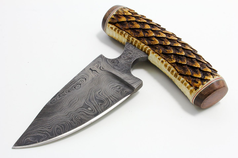push dagger | Carved Stag and Damascus Push Dagger - Arizona Custom