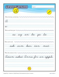 Cursive Letters A-Z - Free Printable Worksheets - K12reader