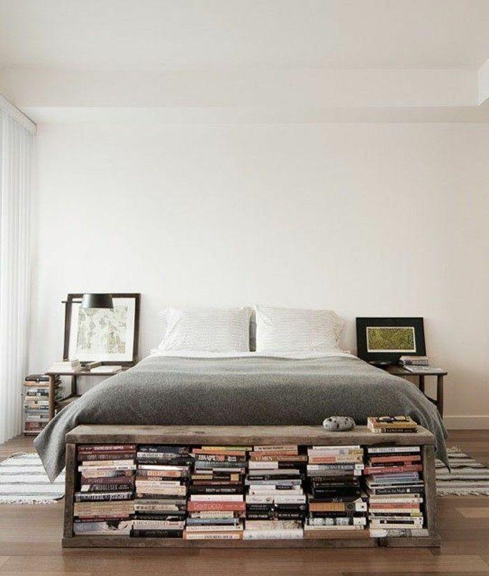 Wohnung Dekorieren Stauraum Dekoideen Bücher Bett Schlafzimmer