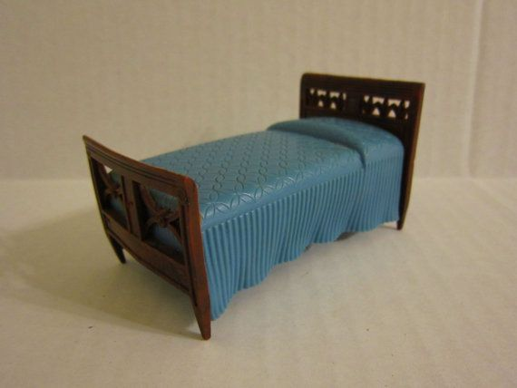 Renwal Blue Bed Vintage Plastic Dollhouse By Foxlaneminiatures