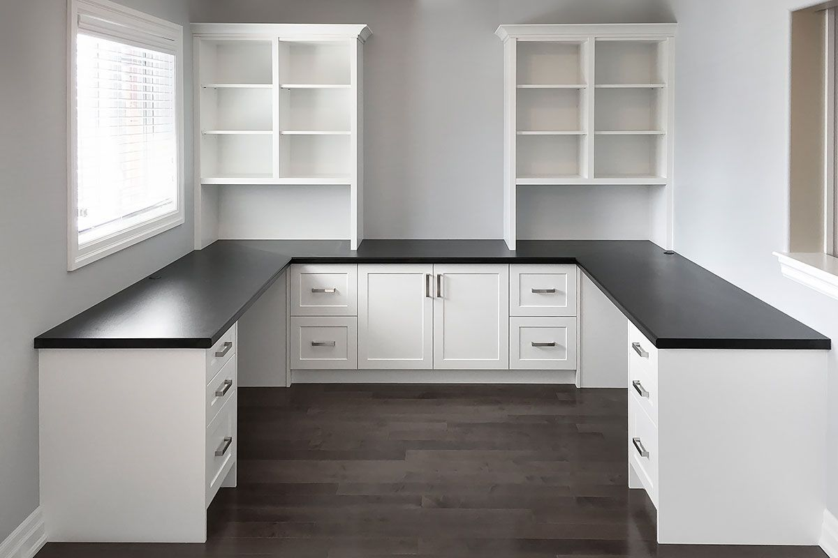White Home Office With Black Countertop Home Office Furniture