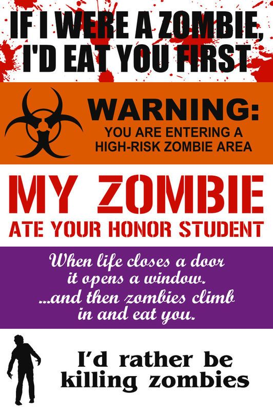 Zombie bumper stickers i like them all