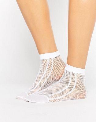 Calcetines de rejilla blancos con raya lateral de ASOS