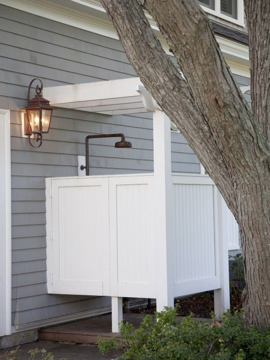 A Pergola Overhead, A Paint Color That Matches The Homeu0027s Trim And A  Showerhead With A Similar Finish To That Of The Outdoor ...