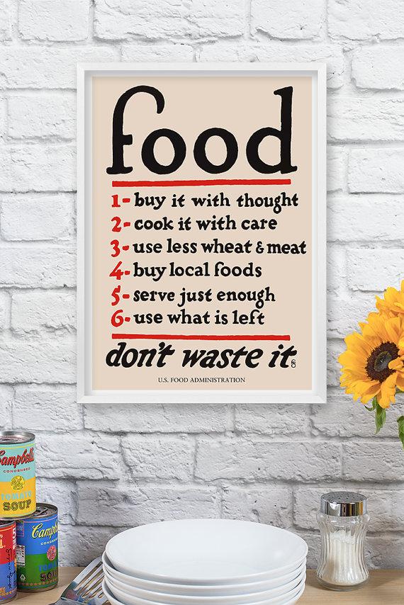 Vintage Poster U. S. Food Administration Kitchen Decor