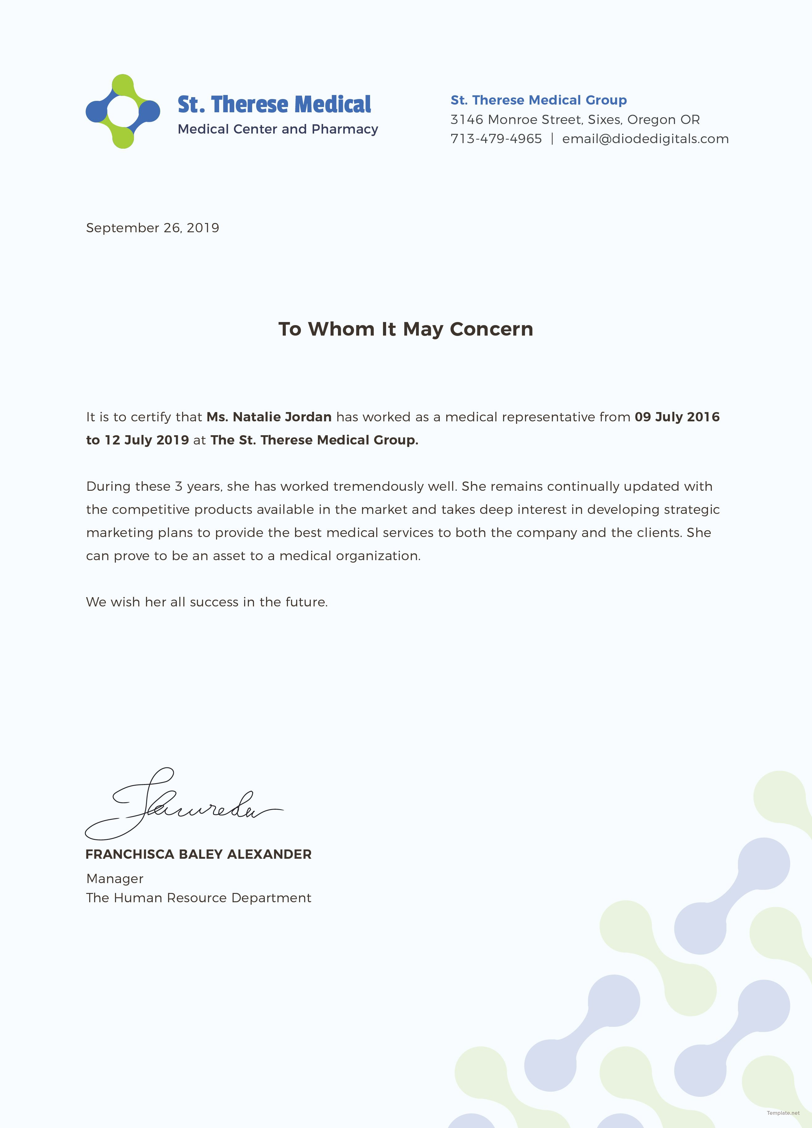Free Medical Experience Certificate Certificate