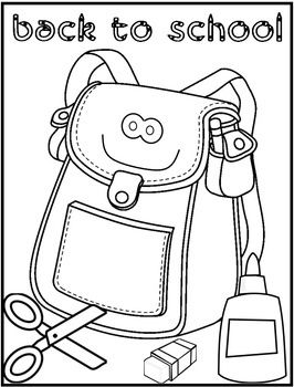 Back to school backpack Coloring Pages Clip Art Etc Pinterest