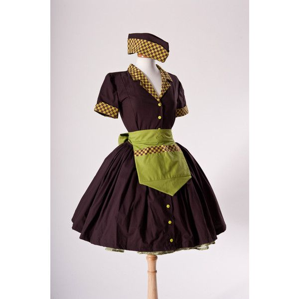 e7a5bc6e035ba Zombie Pinup Car Hop Retro 50s Waitress Dress Apron and Hat Halloween...  ($300) ❤ liked on Polyvore featuring costumes, dresses, car hop girl,  womens plus ...
