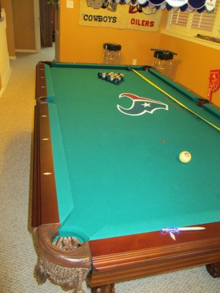Custom Felt Texans Pool Table Legacy Billiards Solid Maple In Pristine Condition Pool Table Pearland Tx Texans
