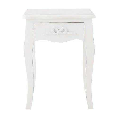 70€ maison du monde - table de chevet avec tiroir en bois ivoire l