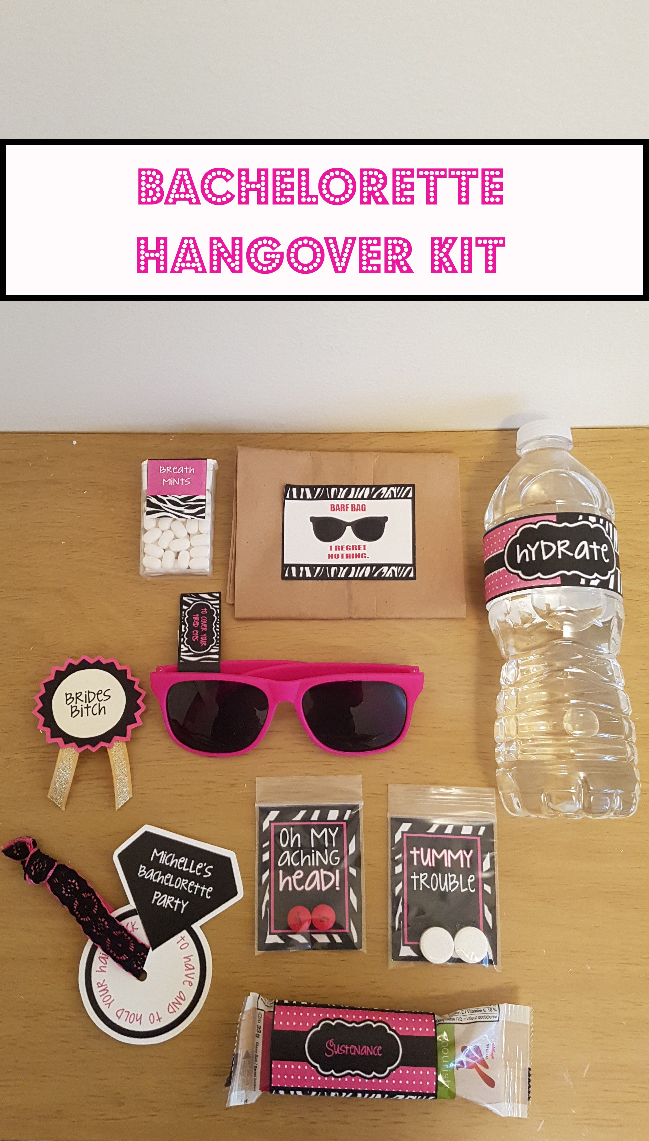 Bachelorette hangover kit supplies water to hydrate