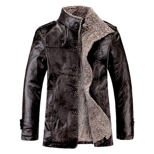 2017 New Brand PU Leather Jacket Men Winter Jackets and Coats Thickening Wool Windbreak Warm Jaquetas De Couro Coat Plus Size3XL