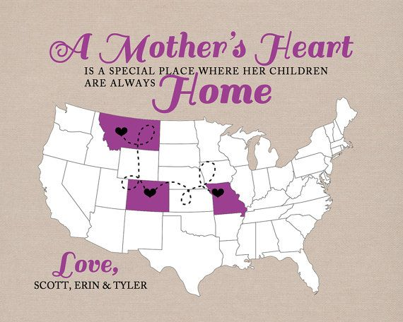 Gift for Mothers Day, 8x10 Map for Mom, Quote about
