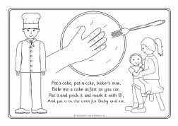 Pat A Cake Colouring Pages Nursery Rhyme Playgroup Pinterest