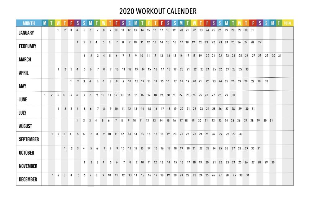 2020 Running Calendar Workout Calendar Printable Running Etsy In 2020 Workout Calendar Printable Running Calendar Workout Calendar