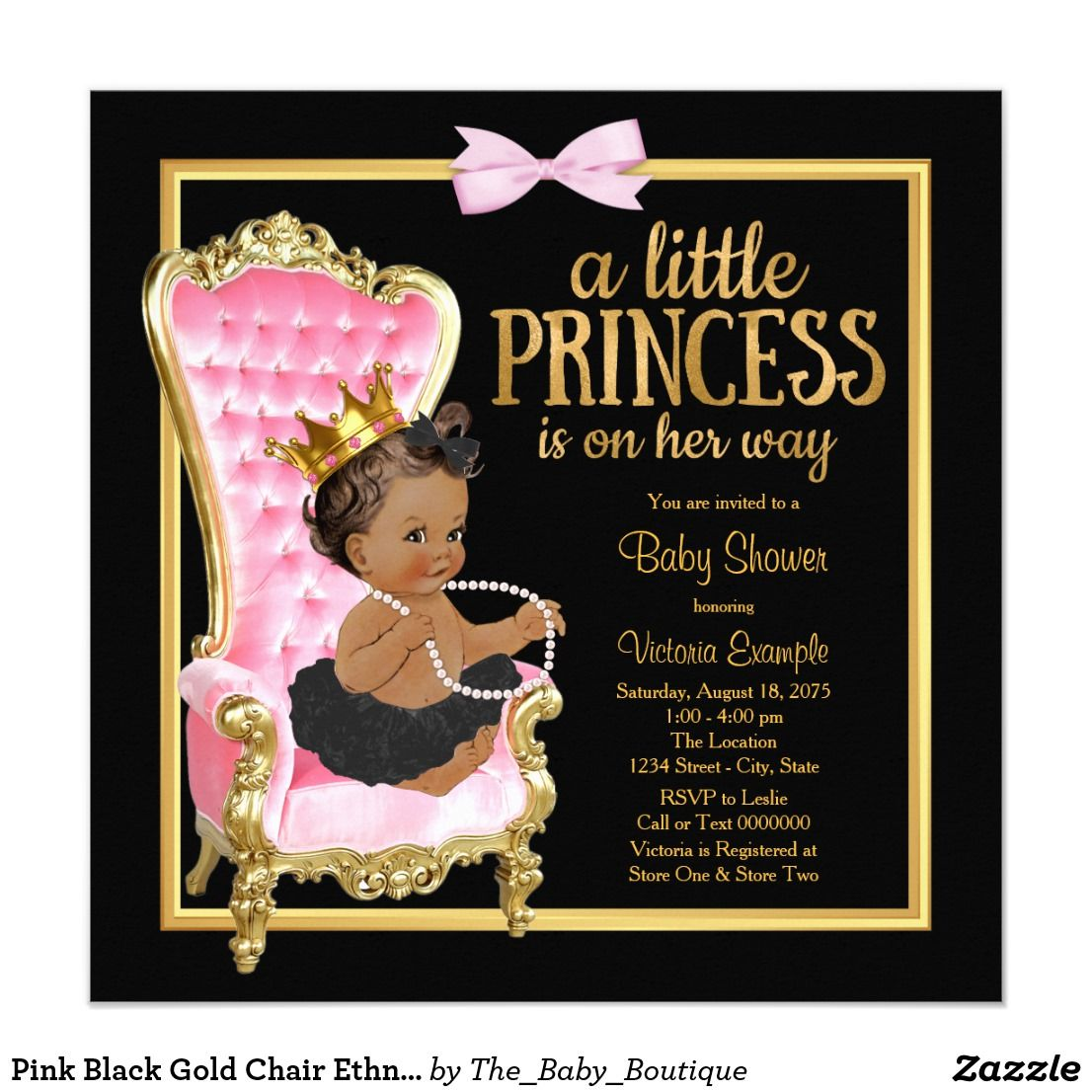Pink Black Gold Chair Ethnic Princess Baby Shower Card