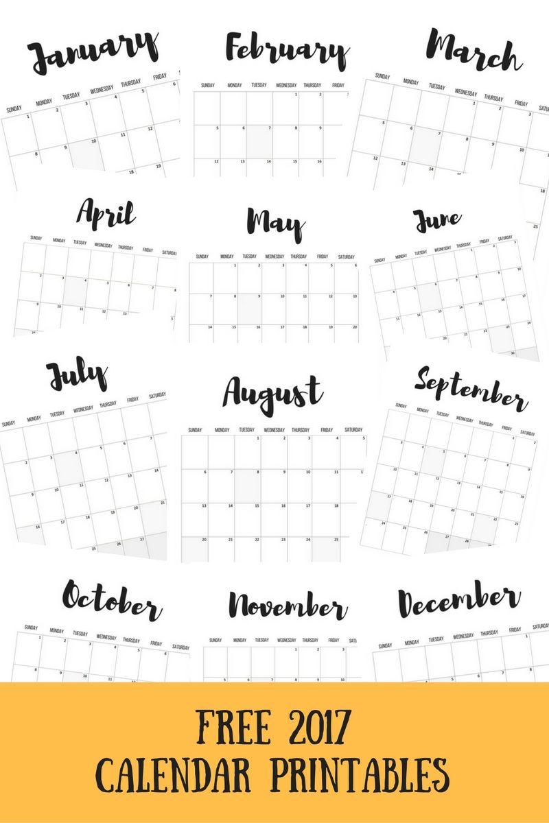 2017 Calendars Free Printables Calendar 2017 Calendar Free