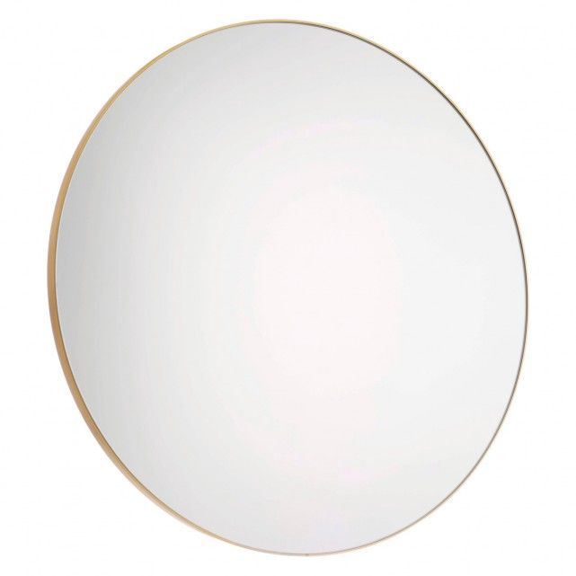 A Sleek And Sophisticated Addition To Any Room The Patsy Large Round Wall Mirror Has Brushed Gold Frame Slender Profile Br Great Statem