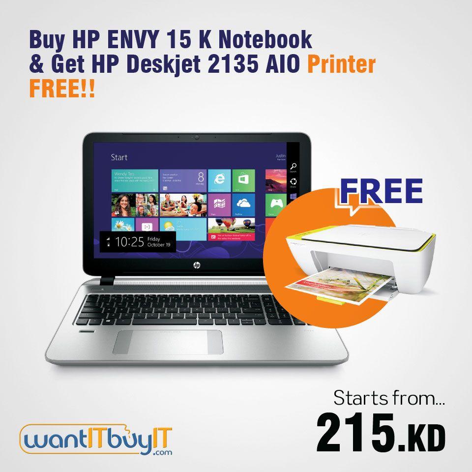Buy Hp Envy 15k Laptop Get Deskjet 2135 All In One Printer Free