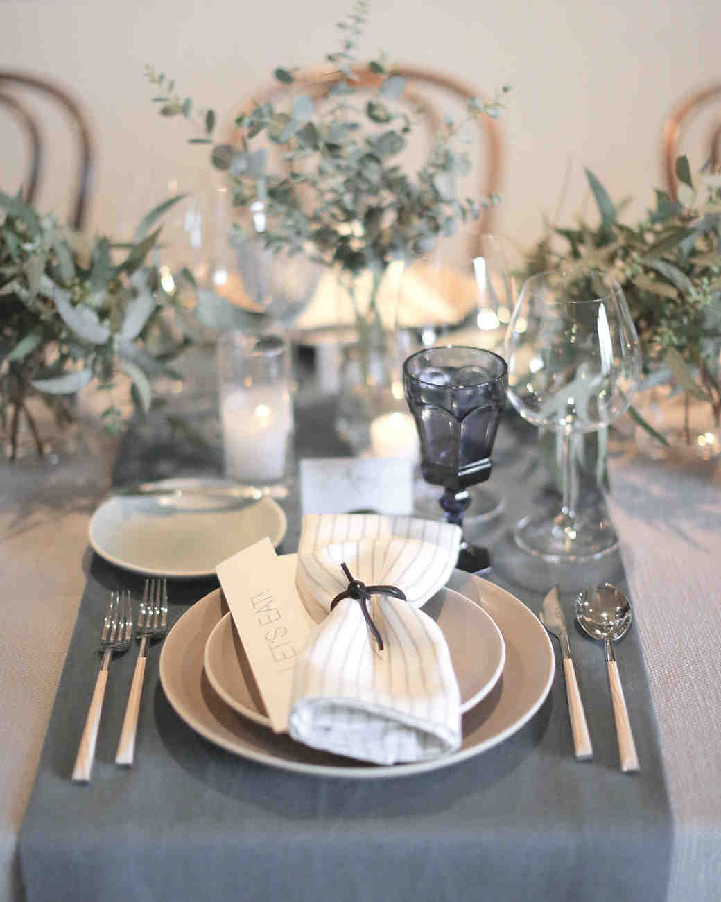 Gray, Cream, and White Table Settings