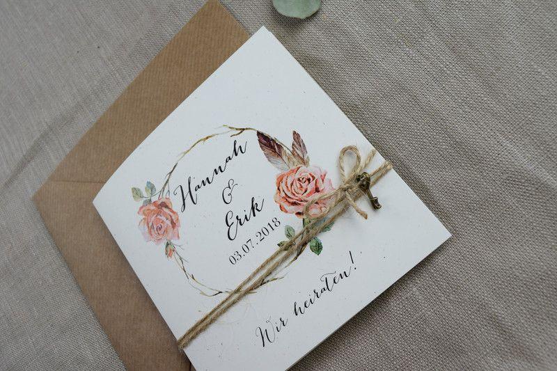 Einladungskarten - Hochzeitseinladungskarte Rosy vintage