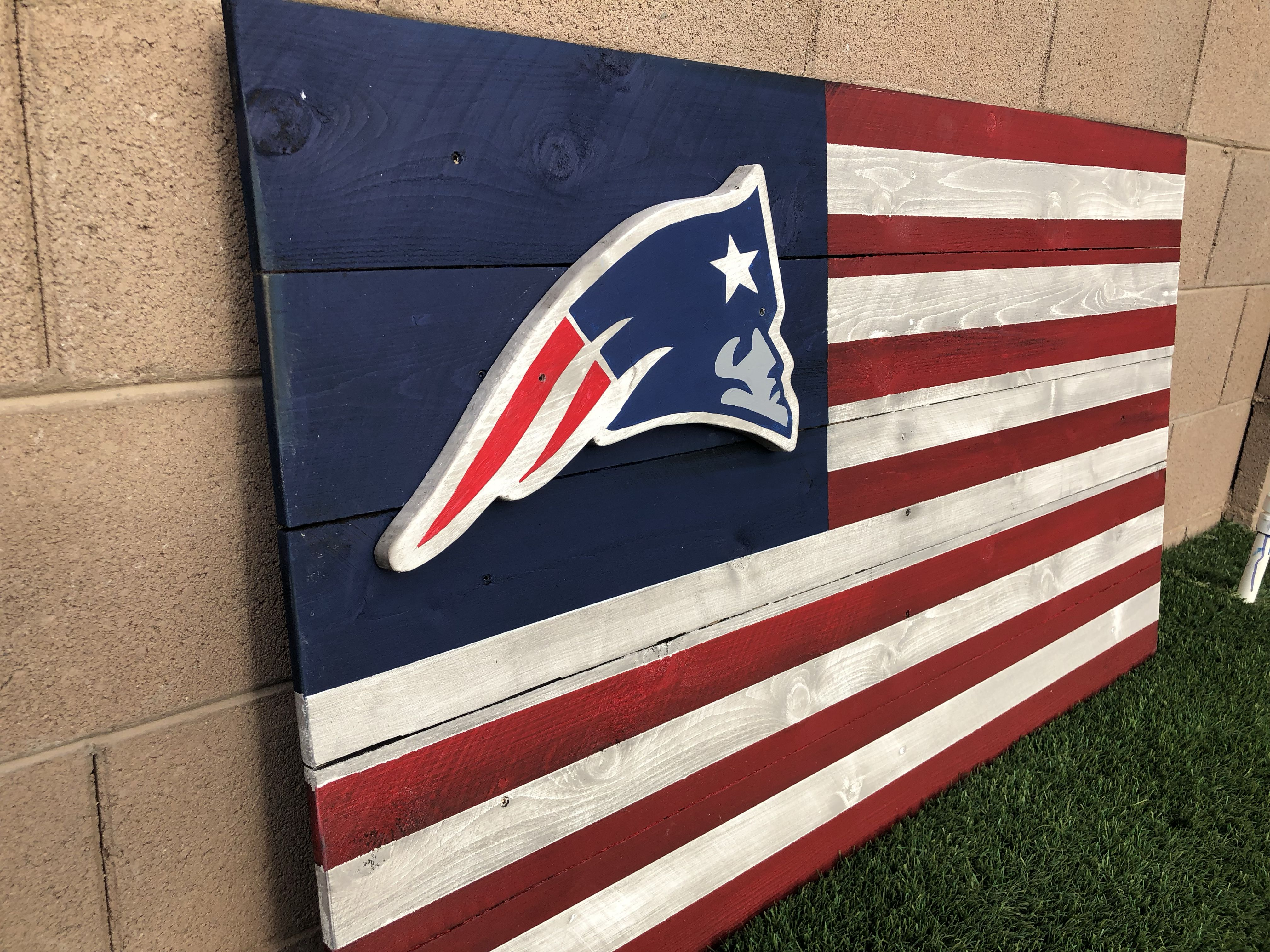 Pin By Adrian Valdez On My Sports Themed Projects Wood Flag New England Patriots Sports Theme