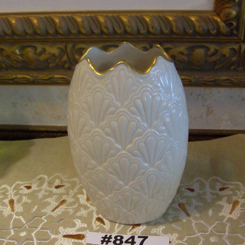 Rare Lenox Shell Vase Jacquard Ivory Lenox Vase With Gold Trim Six And Half Inch Lenox Vase Vase Lenox