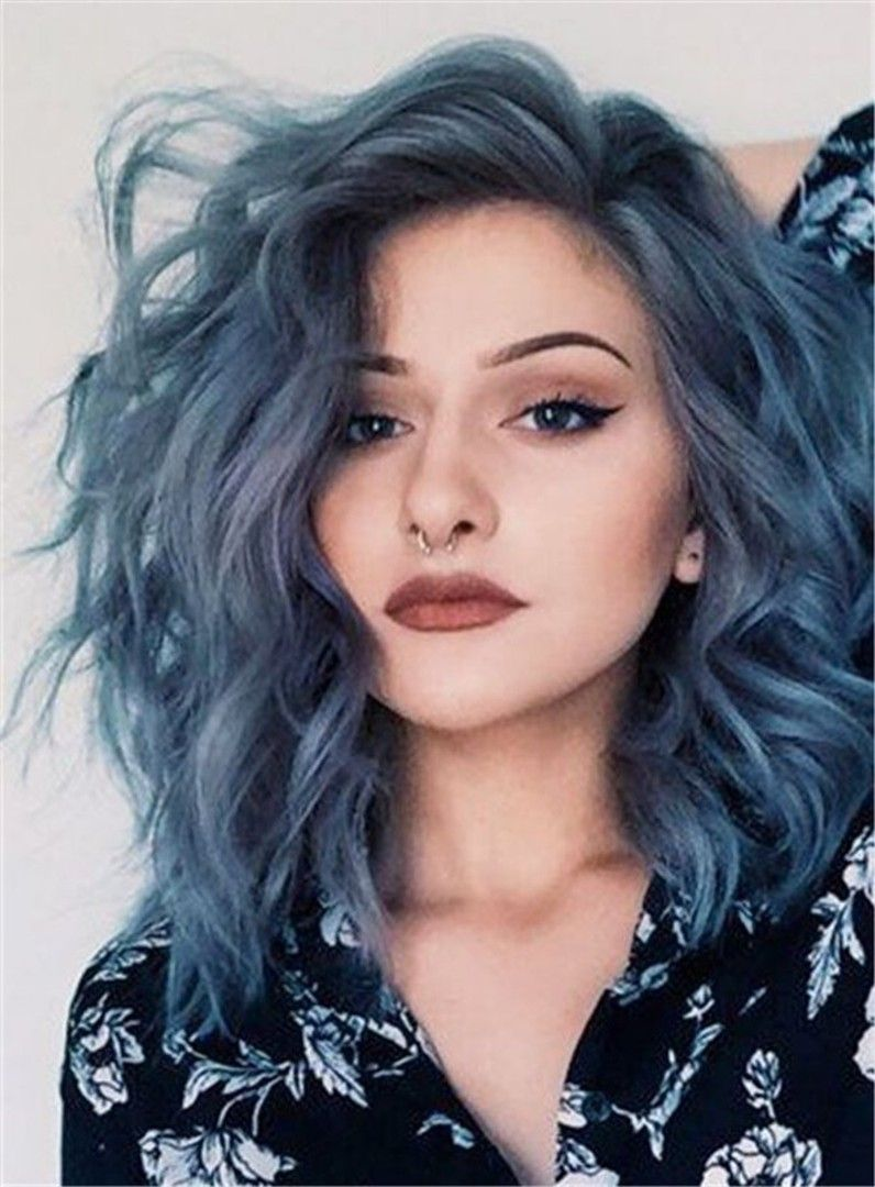 Shoulder Length Loose Wavy Side Swept Synthetic Lace Front Wigs Hair Styles Denim Hair Short Blue Hair