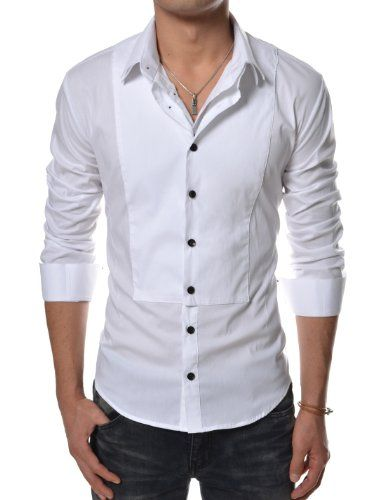 070bcb86115 Hikoreanfashion Men s Double Collar Dressy Shirts Spandex Cotton Tops  (Medium  US Small