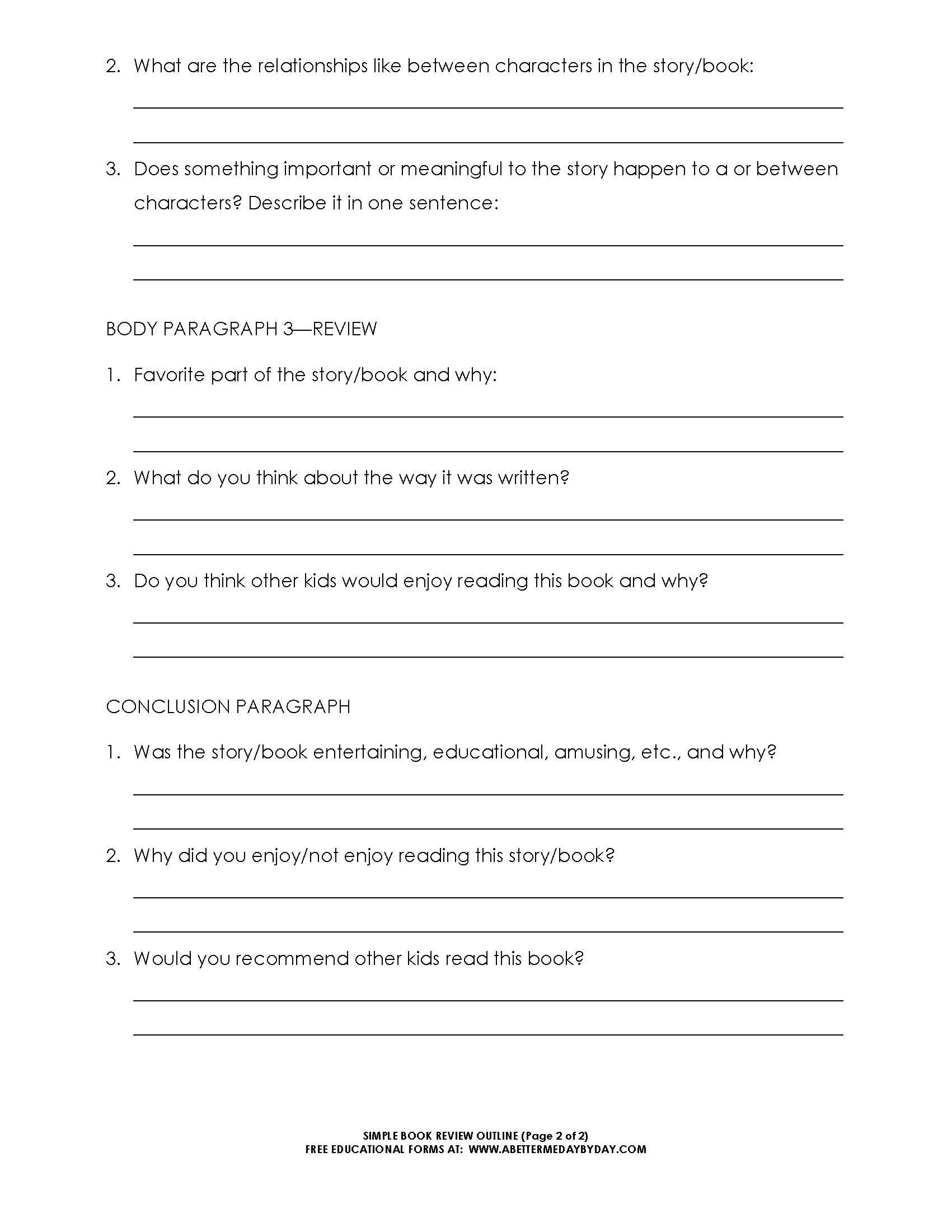 Free simple 5 paragraph book review or report outline for Story outline template for kids