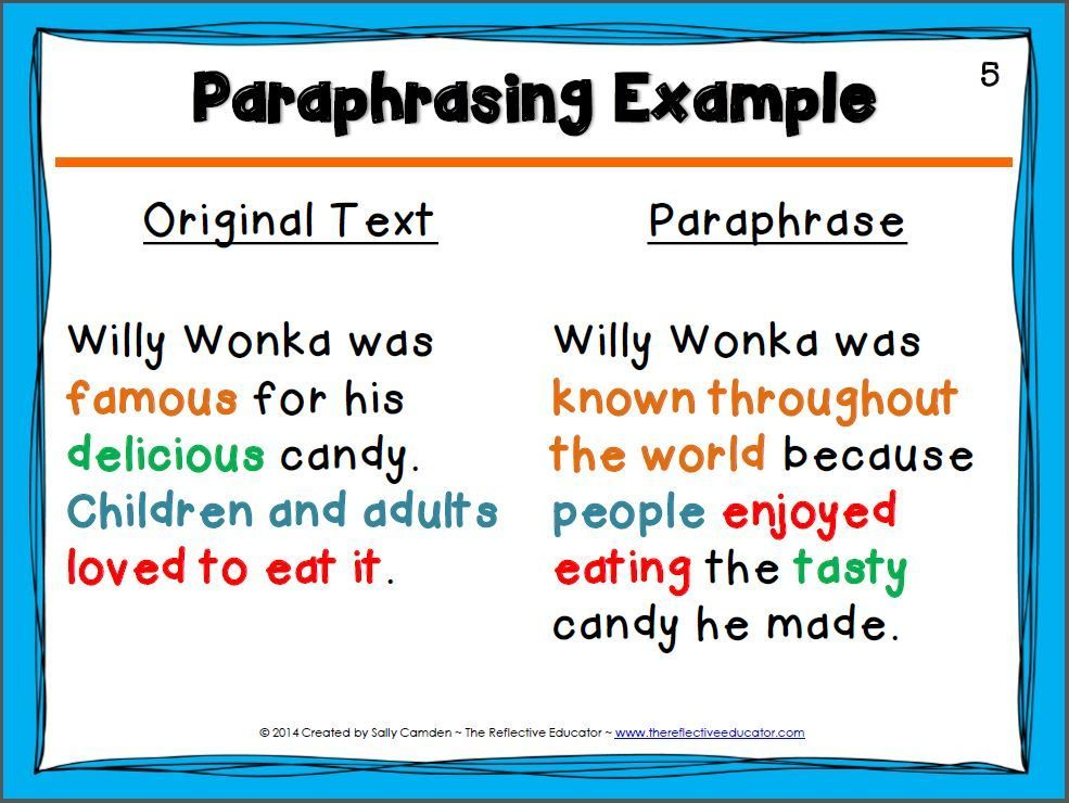 How To Paraphrase Sources Writing Instruction Teaching Writing Writing Lessons