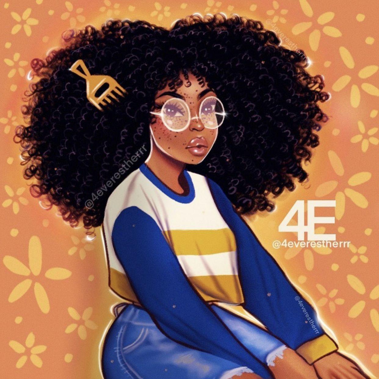 Pin By Futbolfilife On Melanin Magic Pretty Brown Black Girl Art Black Girl Magic Art Black Girl Cartoon