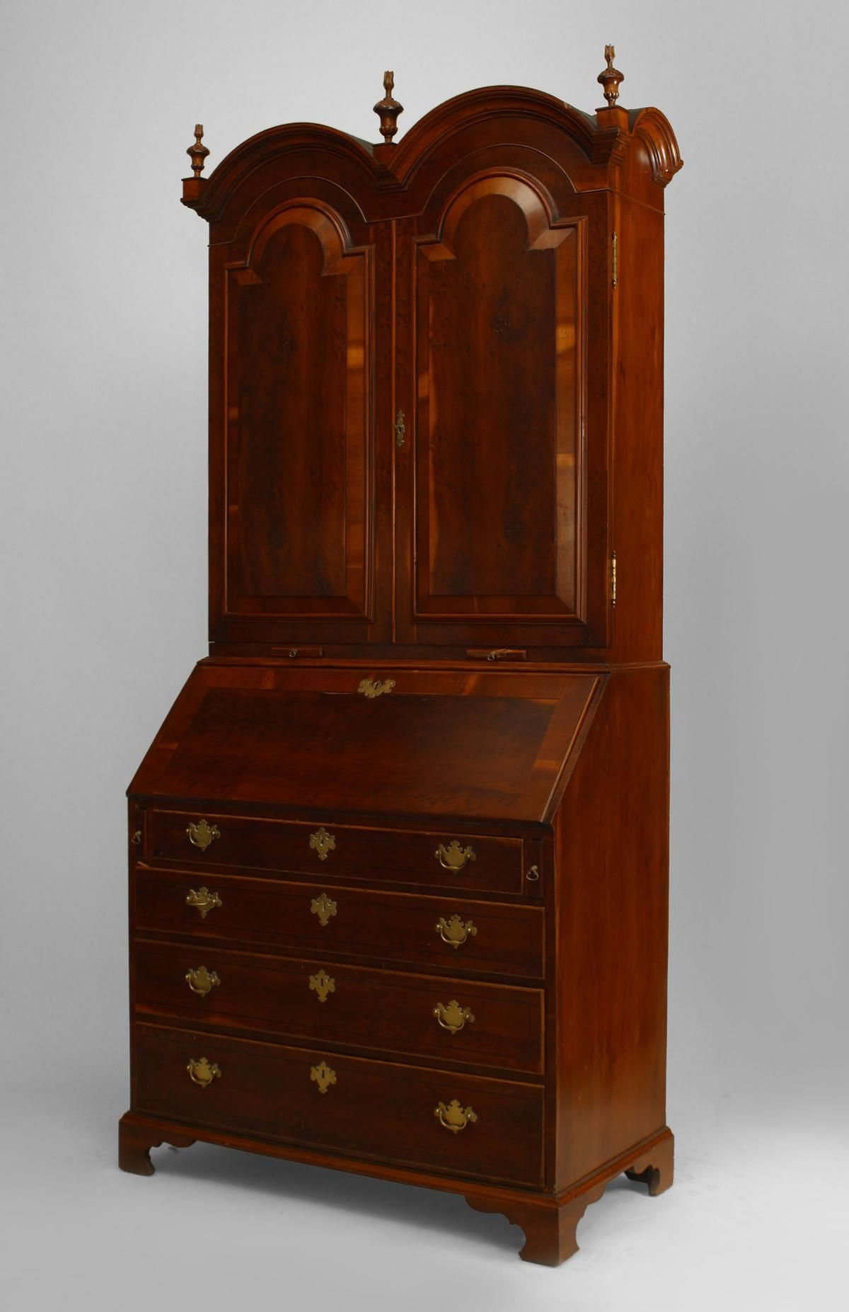 English Queen Anne cabinet/case-piece secretary burl walnut ...