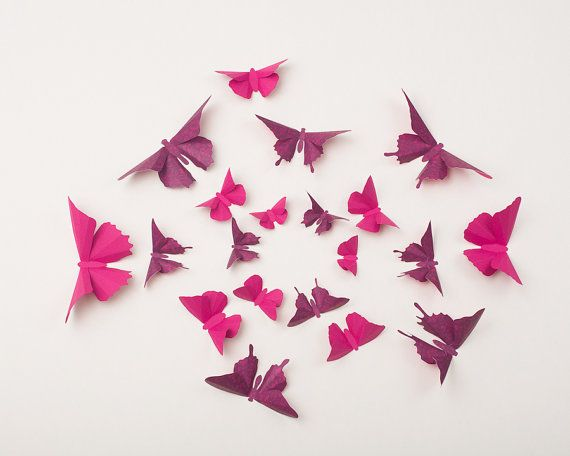 3D Wall Butterflies Butterfly Wall Art for by hipandclavicle, $42.00