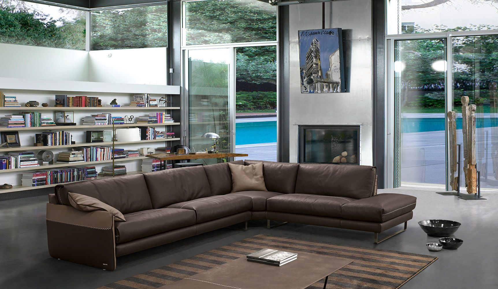 sectional sofas nyc showroom outdoor patio furniture cushion 5pc rattan wicker sofa set mood by gamma two tones leather products sectionals in lewis italian