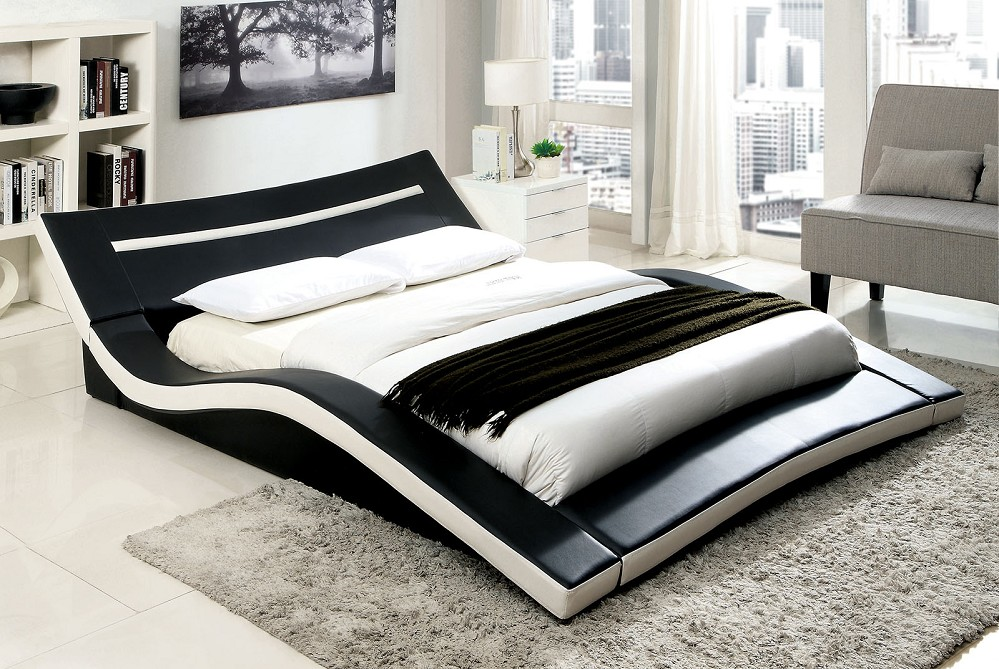 Zelina Modern Black White Leatherette Curved Eastern King Size