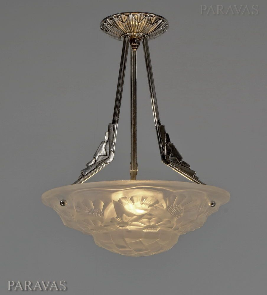 Degue french 1930 art deco chandelier a pair available pendant antiques decorative arts lamps ebay arubaitofo Images