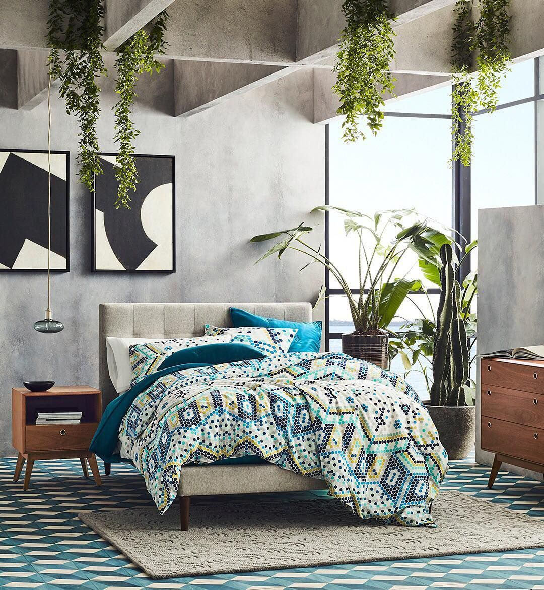 This bedroom combines some of our favorite design trends (mosaic tiles, Brutalist architecture, Mid-Century forms) and we can't get enough! 😍😍😍 Want to snag this style for your own home? Snag everything in this photo by clicking on the link in profile! #mywestem