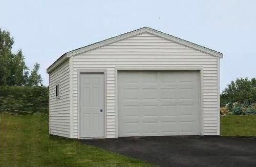 16 W X 20 L X 8 H 1 Car Low Maintenance Garage With Hand Framed Rafters At Menards Gym Shed Shed Diy Shed Plans