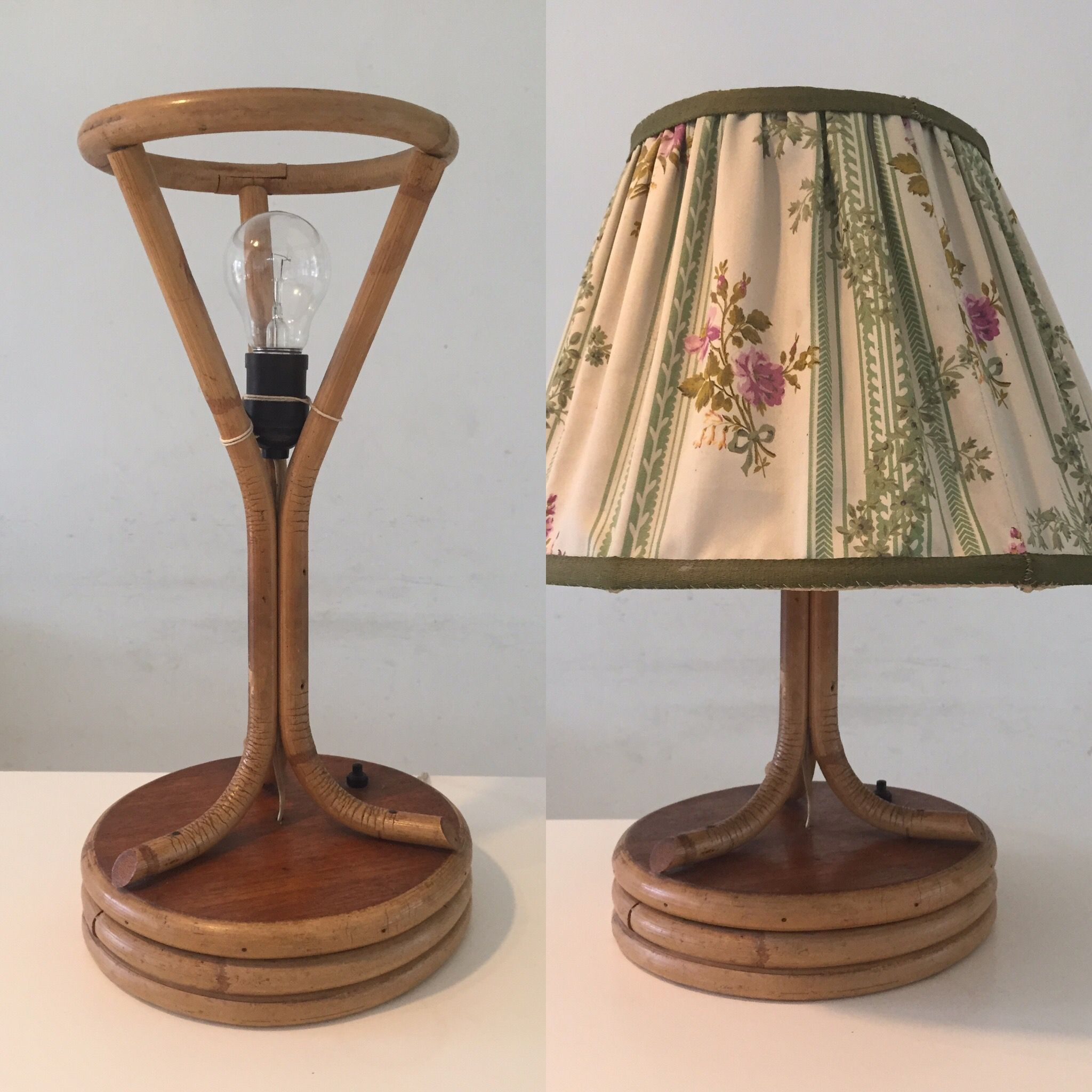 Beautiful Stylish Vintage Bamboo Table Lamp From The Fifties. Nice Design